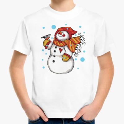 Детская футболка Снеговик и снегирь