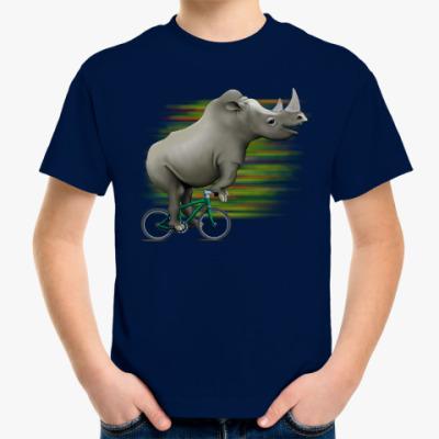 Детская футболка Носорог на велосипеде