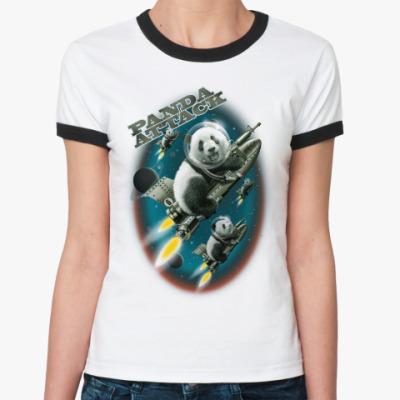 Женская футболка Ringer-T Панды атакуют