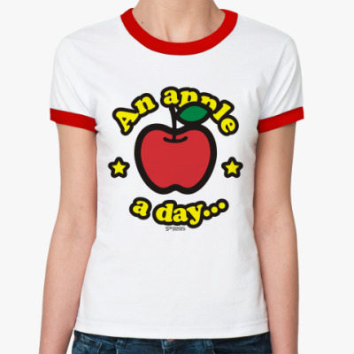 Женская футболка Ringer-T An apple a day
