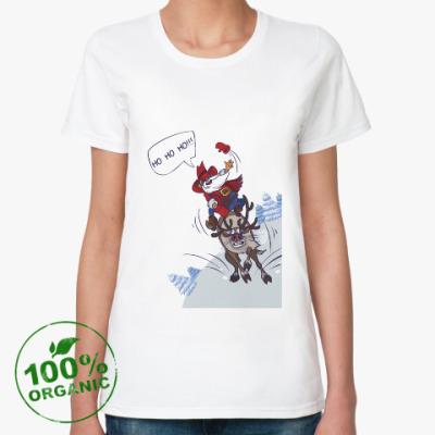 Женская футболка из органик-хлопка лихой Санта