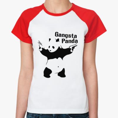 Женская футболка реглан Gangsta panda