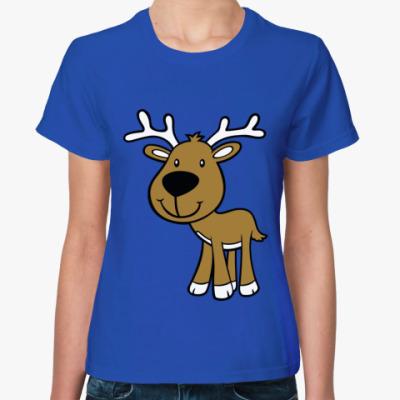 Женская футболка  Оленёнок