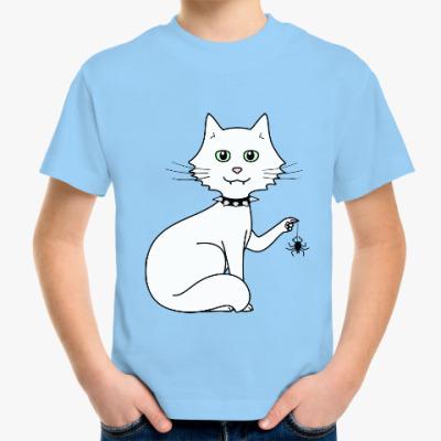 Детская футболка Кот с паучком