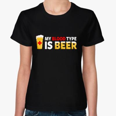 Женская футболка Пиво - моя группа крови