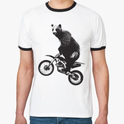 Футболка Ringer-T Медведь на мотоцикле