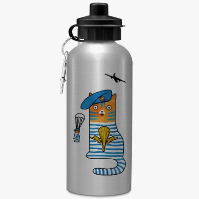 Спортивная бутылка/фляжка  Кот Десантник, парашют и самолет