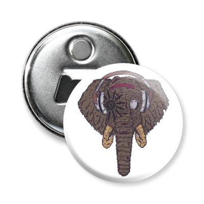 Магнит-открывашка Слон в наушниках