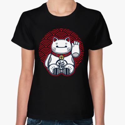 Женская футболка Манэки-Нэко (Кот Счастья)
