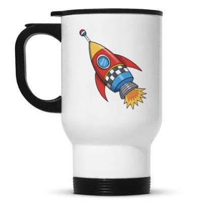 Кружка-термос Космос. Ракета. Котэ. Звезды.
