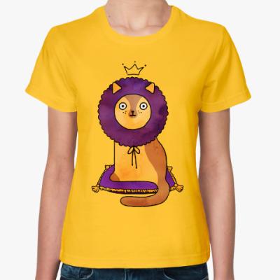 Женская футболка Котик Лев Царь зверей