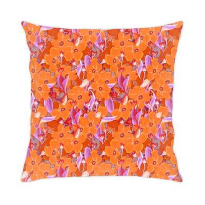 Подушка Оранжевые цветы