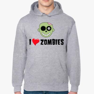 Толстовка худи I love zombies