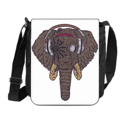 Сумка на плечо (мини-планшет) Слон в наушниках