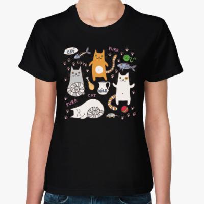 Женская футболка Котики