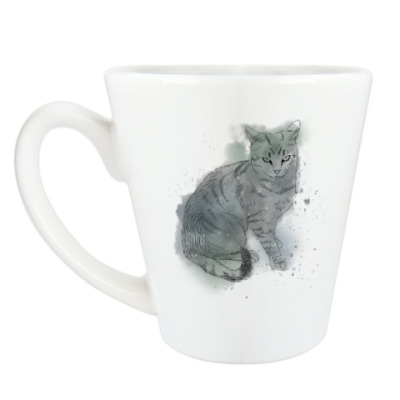 Чашка Латте Серый сердитый кот