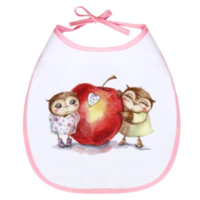 Слюнявчик Совы с яблочком