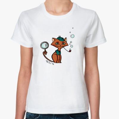 Классическая футболка  Котик-детектив