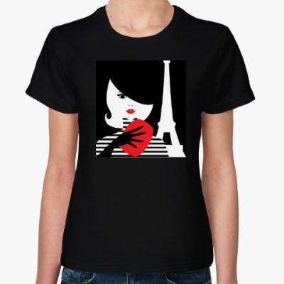 Женская футболка Француженка, фэшн иллюстрация