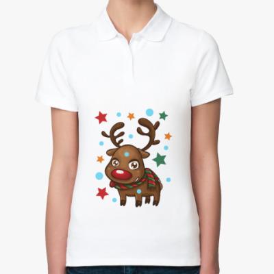Женская рубашка поло Олень со звёздами