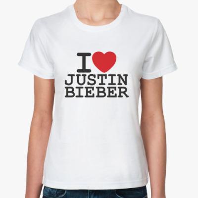 Женская футболка  I love Justin Bieber