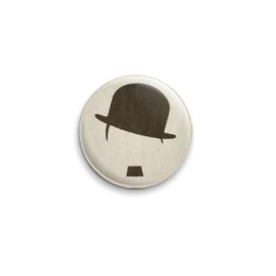 Значок 25мм  Усы и шляпа Чаплина