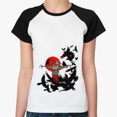Женская футболка реглан Пугало   Ж(бел/чёрн)