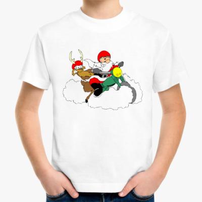 Детская футболка Сант Клаус на мотоцикле