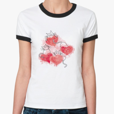 Женская футболка Ringer-T CatsInLove