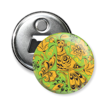 Магнит-открывашка Птица хохлома зеленый