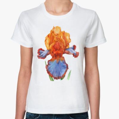 Классическая футболка Ирис акварель