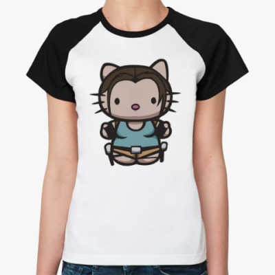 Женская футболка реглан Kitty Лара Крофт