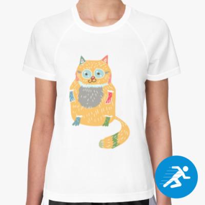 Женская спортивная футболка Котик