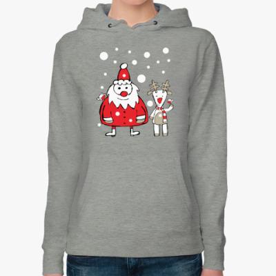 Женская толстовка худи Дед Мороз и олень