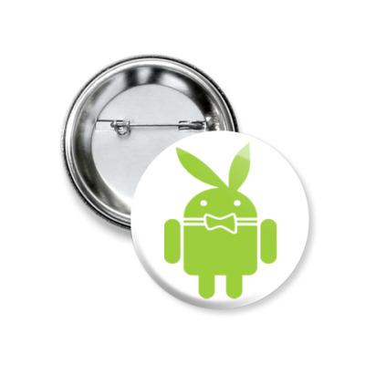 Значок 37мм Андроид плейбой
