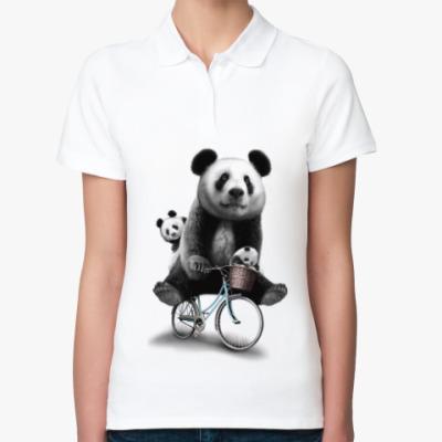 Женская рубашка поло Панды на велосипеде