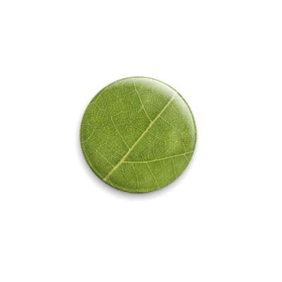 Значок 25мм  Зеленый лист