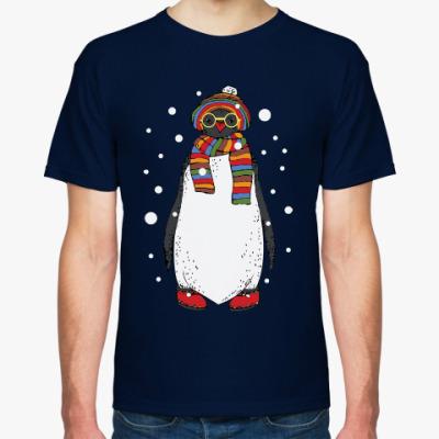 Футболка Новогодний пингвин в шапке