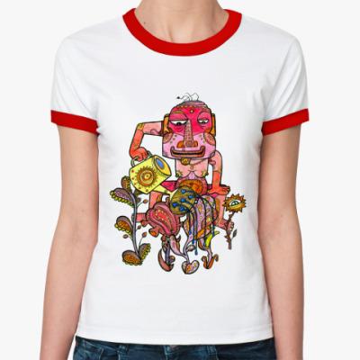 Женская футболка Ringer-T  Дикий садик