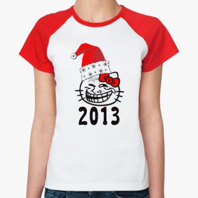 Женская футболка реглан Trollface: happy new year