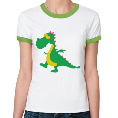 Женская футболка Ringer-T Весёлый дракончик