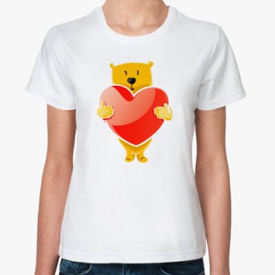Классическая футболка Медведь и сердце