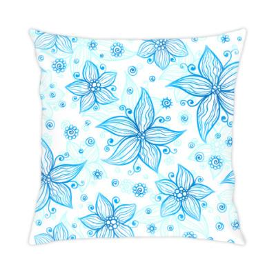 Подушка Снежные цветы