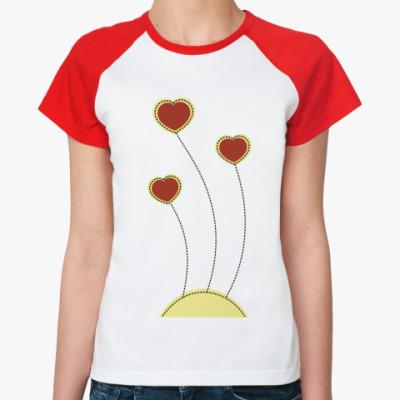 Женская футболка реглан Пунктирное сердце
