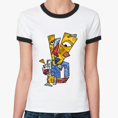 Женская футболка Ringer-T  Красный нос