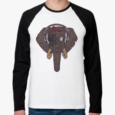 Футболка реглан с длинным рукавом Слон в наушниках