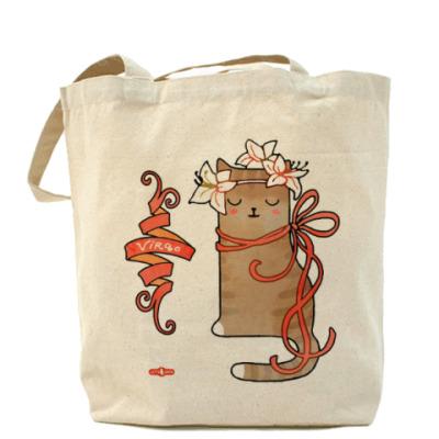Сумка Кошка в венке из лилий. Знак Зодиака Дева (Virgo)