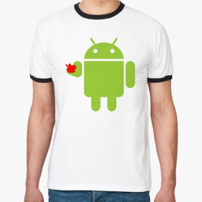 Футболка Ringer-T Андроид с яблоком
