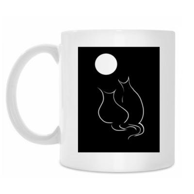 Кружка Кот+кошка лунной ночью