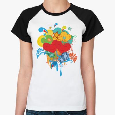 Женская футболка реглан  поп-арт1